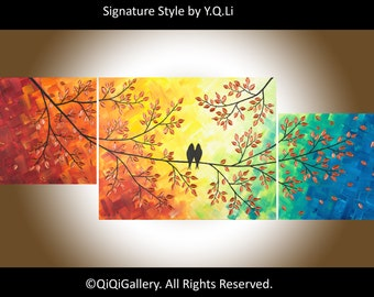 "Painting acrylic Birds painting wall decor home decor palette knife painting decorative art canvas art ""The Sun Shines on Us"" by qiqigallery"