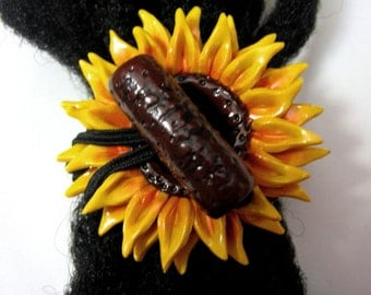 Sunflower Hair tie or Ponytail Holder for Dreads Dreadlocks or Thick Hair or Sisterlocks