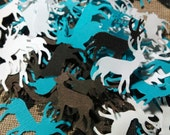 Custom for PAIGE EMMERLING Lot of 100 Antlered Deer Turquoise Brown and White Die Cut Confetti for Birthdays Baby Showers and Weddings