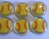 Hand painted large glass gems party favors art softball softballs sports stocking stuffer
