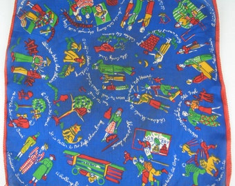 Vintage 40s WWII Novelty Silk Scarf with every day scenes and sayings