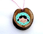 Pigtail Girl Original Painting on Wood Ornament/Hanging