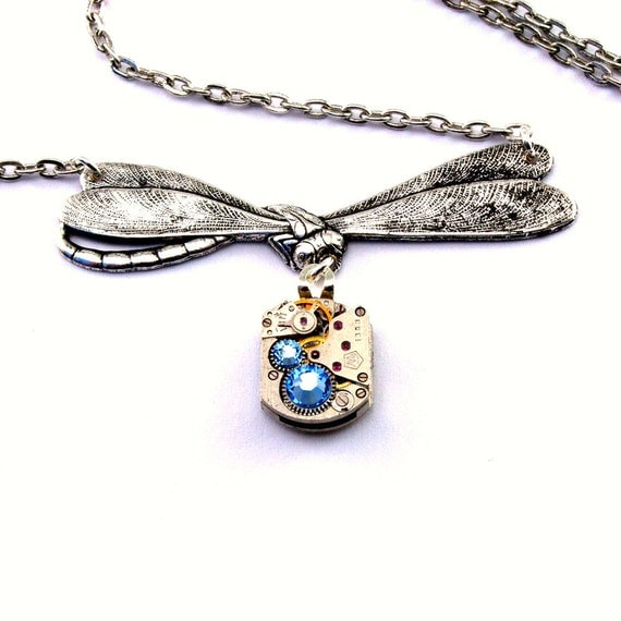 Sapphire Blue Steampunk Dragonfly Necklace September Birthstone Steam Punk Pendant Victorian Style Dragonfly Designed by London Particulars
