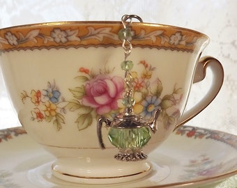Green  Crystal Tea Pot - Tea Ball - Tea Strainer - Tea Infuser - Green Crystal