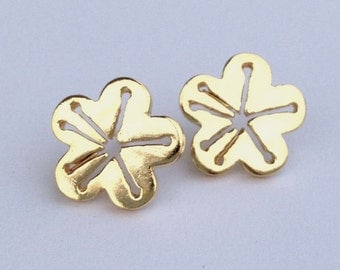 Cherry blossom post earrings in gold