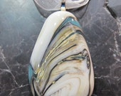 Fused Glass Pendant with ribbon necklace: White Wash Reaction