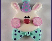 Polymer Clay Pendant Bunny in Mint & Lavender