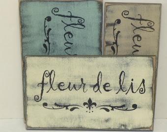 50% off STORE CLOSING SALE Fleur de lis sign / hand painted sign / French / French decor / fleur de lis decor / Paris chic / Paris apartment
