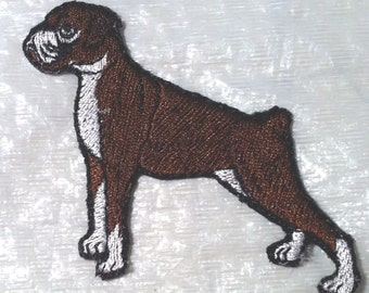 """Boxer Dog Ears not Clipped Embroidered Iron on Applique 3"""" x 2.5"""" - FREE SHIPPING"""