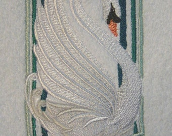 Wild and Beautiful Art Deco Swan - White Embroidered Terrycloth Hand Towel - FREE U.S. Shipping