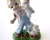 Darling Vintage Ceramic Boy Figurine with Pair of Rabbits, Made in Japan