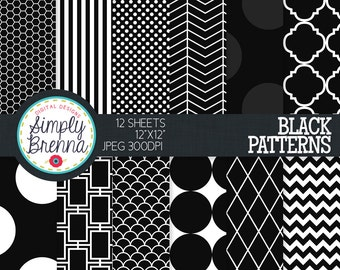 Black Digital Paper - Colorful Digital Paper Pack Colorful Patterned Paper Sheets - Personal & Commercial Use INSTANT DOWNLOAD