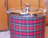 PLAID ICE BUCKET, Vintage, red tartan, mid century, party decor, barware, cocktails, Japan