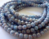 Opaque Lilac / Blue 4mm Pressed Glass Czech Round Beads (50)
