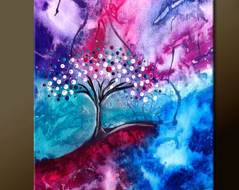 Abstract Canvas Art Painting 16x20 Original Contemporary Modern Landscape Tree Paintings  by Destiny Womack - dWo - Solitude