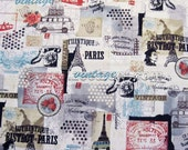 """Sale 58"""" PARIS Vintage Scrapbook IVORY Cotton/LINEN Blend - 58"""" Wide - Cream Fabric by the Yard Vw Bus France French Travel"""