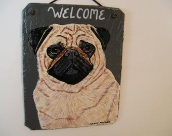 Fawn Pug Welcome Slate