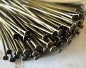 250 pcs  Antiqued Brass Headpins, Brass, Flat Head Pins, 2 inch,  21 gauge  HP7515
