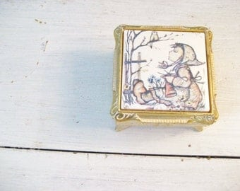 Vintage Music Box with Ceramic Holly Hobbie Type Scene- by Mele- Made in Japan