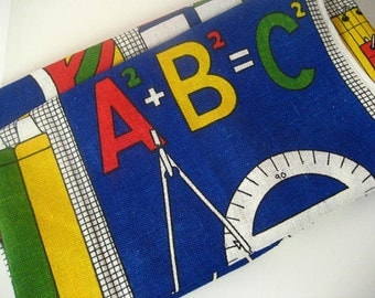 1.3Y Vintage Screenprinted Woven Decor Fabric with School Theme
