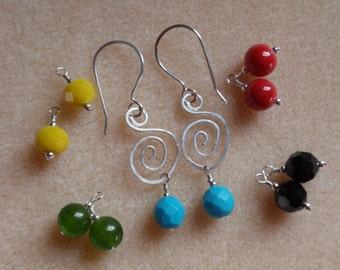 Interchangeable Swirl Sterling Silver Earrings