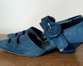 Unique Navy Blue Sandals with Large Buckle 7