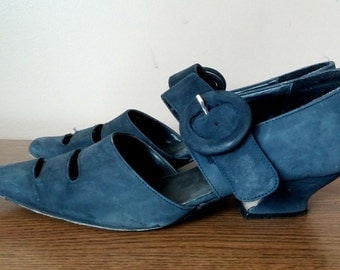 Unique Navy Blue Sandals with Large Buckle 7