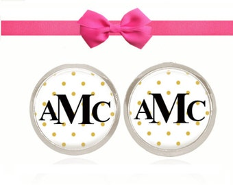 Monogram Earrings, Glass Dome Earrings, Stud Earrings, (Black On Gold Polka Dots - Stud Earrings)