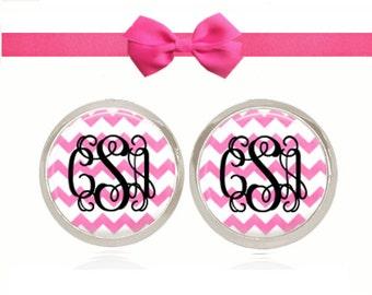 Monogram Earrings, Pink Chevron Earrings, Stud Earrings, Monogram Jewelry, Sorority Gift, (Black on Pink Chevron - Stud Earrings)