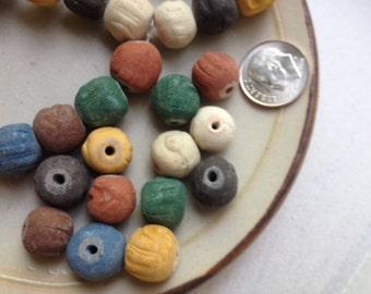 Rainbow Monk Mala Beads - Terra Cotta - 15 pieces - Nepal