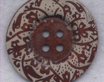 Rusty Brown Wood Buttons BIG Wooden Buttons 60mm (2 3/8 inch) Set of 2/BT504