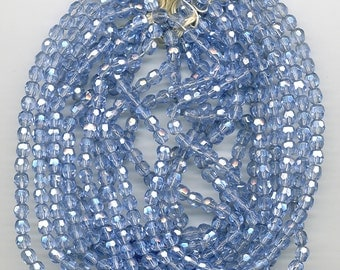 Vintage Blue Beads 6mm Faceted Luster Glass Rounds 50 Pcs.