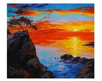 Big Sur SUNSET OIL PAINTING Palette Knife California Seascape  Fine Art Gercken