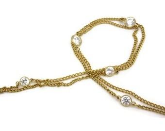 Glass Gem Necklace - Vintage Bezel Set Clear Crystals