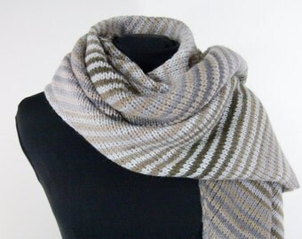 Oversized Blanket Scarf - Bias Knit in Taupe and Grey Diagonal Stripes - Item 1422