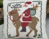 Santa Riding Reindeer Cross Stitch Christmas Ornament