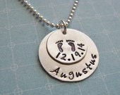 custom baby name necklace with birth date and footprints