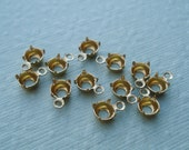 Brass 5mm/23ss Small Round Open Back 1 Ring/Loop Settings for Pointed Back or Flat Back Cabs or Jewels (12 pieces)
