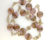 Rare Trade Beads Rose Glass in Choker with 14 ct Gold Fill . Two clasps and 18 inches long