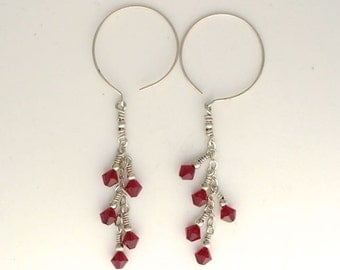 Red Swarovsky Dangle Earrings with Large French Hooks
