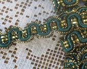 3 Yards Fancy Metallic And Fabric Sewing Trim In Deep Green And Gold
