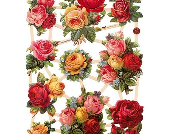 Germany Paper Scraps Die Cut Lithograph Victorian Pink Yellow Roses  7393