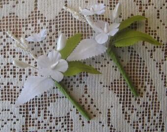 2 Czech Republic Fabric Millinery Wedding Boutonierre Bouquet Flowers