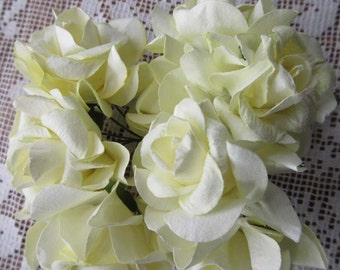 12 Paper Millinery Rambling Roses In Palest Yellow