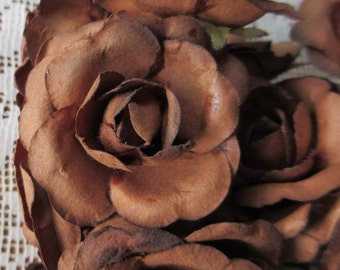 Paper Flowers 12 Sweet Millinery Roses In Medium Brown