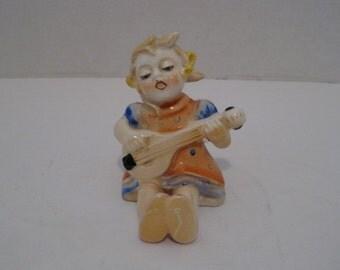 Vintage Porcelain Ceramic Girl With Guitar Figurine Made in Japan