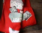 vintage. mid century modern. red. cheese apple. screen printed tea towel. kitchen. illustrated.