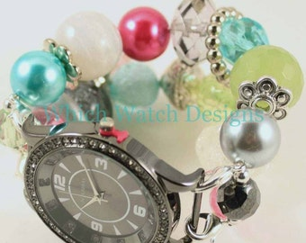 SALE Shabby Chic Ornamental.. Pink, Turquoise, Green, White and Gray Beaded Interchangeable Watch Band, Bling