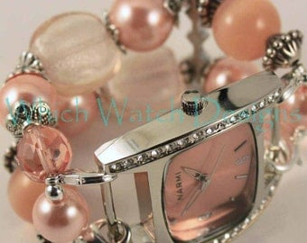 Peachy Keen.. Elegant Peach Pearl and Glass Interchangeable Beaded Watch Band