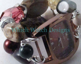 Desert Bloom.. Chunky Brown, Cream, Green, Burgundy, Purple Muted Tones Interchangeable Beaded Watch Band